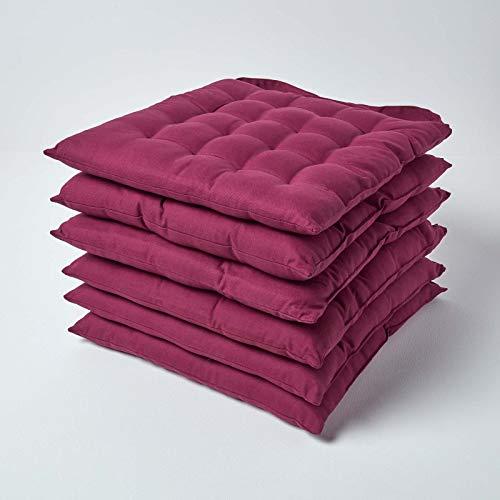 Homescapes 6er Set Stuhlkissen 40 x 40 cm, einfarbige Stuhlauflage mit Bändern und Knopfverschluss und hautfreundlicher Bezug aus 100% Baumwolle mit weicher Polyester-Füllung, Bordeaux