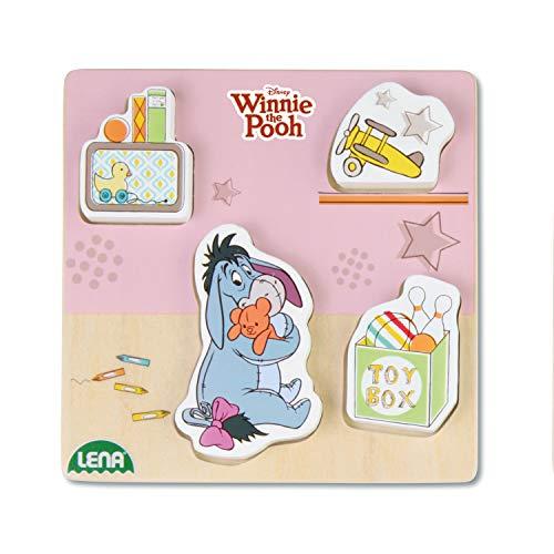 Lena 32121 - Holzlegespiel mit Disney's Winnie The Puuh Figur Esel I-Aah, Puzzle für Kinder ab 18 Monaten aus 100% FSC Holz, mit 4 Teilen im Brett, ca. 14 cm, Puzzleteile separat bespielbar (Disney Puzzle Holz)