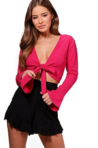 Rose vif Femmes Petite Kate Tie Front Frill Sleeve Top Rose vif