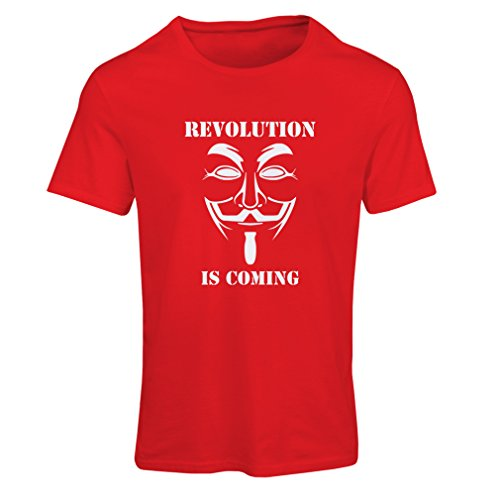 Camiseta Mujer The Revolution Is Coming - The Anonymous Hackers Mask (XX-Large Rojo Blanco)