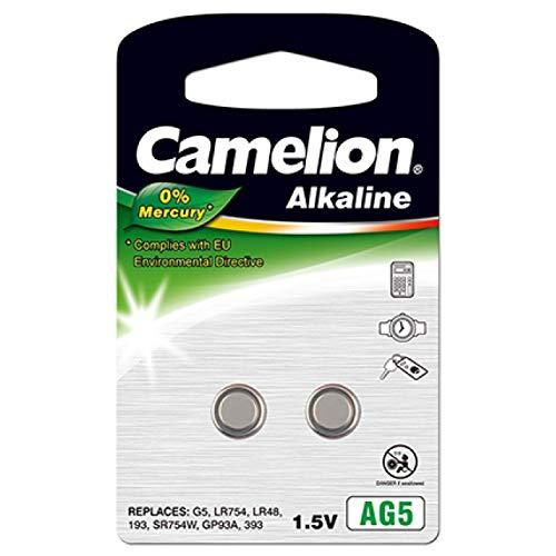 Knopfzellen-Batterie CAMELION AG5(2Einheiten Blister), 1,5V, Alkaline [Knopfzellen]