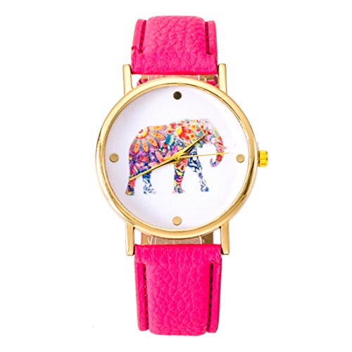 Fashion relojes cinturón ordinario relojes reloj ginebra relojes de impresión elefante rosa rojo