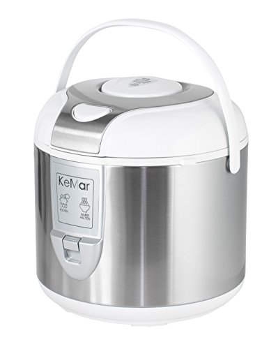 KeMar Kitchenware KRC-120 Reiskocher, BPA-frei, Dampfgarer, Edelstahl Dämpfeinsatz, Innentopf Titan-Keramik beschichtet