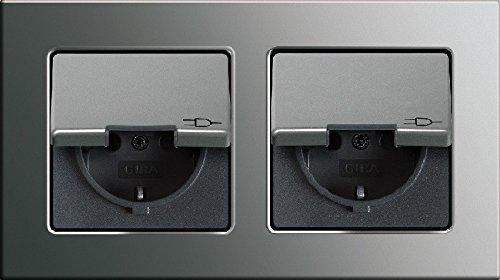 Preisvergleich Produktbild Komplett-Set Gira E22 Abdeckrahmen 2fach E22 Edelstahl - Edelstahl, rostfrei mit 2x Steckdose mit Klappdeckel -GIRA- -edelstahl-