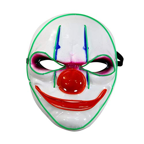 mi ji Luminous Clown Mask Halloween Clown Light Up Mask LED Luminous Dance Mask Halloween Masquerade Cosplay Costume Mask Performing Props Battery Not Included (Luminous Dance Kostüm)