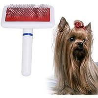 BOENTA Cepillo de peluquería para Perros Peine de Perro Mascota Cepillo de Pelo Largo Mango de plástico Cachorro de Perro de Gato Masaje Multifunción Herramienta de Aseo de Mascotas