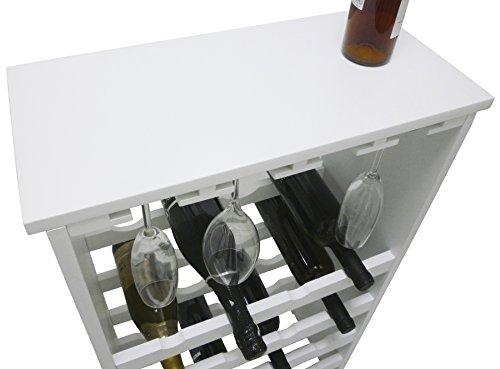 Mobile porta bottiglie bicchieri bianca cantinetta vino in legno ...