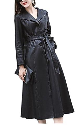 Ghope Femme Vestes Blousons Lange Motard Biker Cuir Synthéthique Casual Manteau Trench-coat Pour l