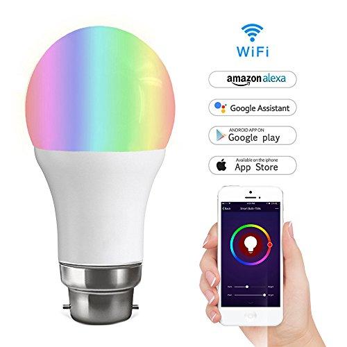 Wifi Smart Birne,LYASI Mehrfarbige LED Dimmbare Lampe 7W RGB Glühbirne,Smartphone gesteuert Tageslicht & Nachtlicht,arbeitet mit Alexa und Google Home Fernbedienung von IOS & Android