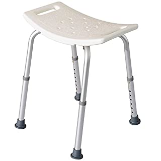 HOMCOM Portable Non-Slip Adjustable Shower and Bath Stool Bench Aluminum Frame