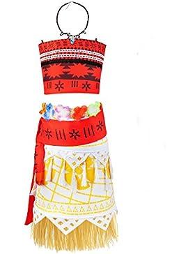 Jimilaka Mädchen Vaiana Kleid Outfit Adventure Kostüm Party Kleid Rock Set