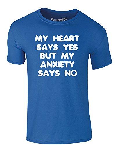 Brand88 - My Anxiety Says No, Erwachsene Gedrucktes T-Shirt Königsblau/Weiß