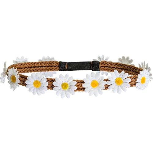 Imagen de hippie pelo banda flor de los años setenta corona flower power cinta de margaritas joyas y flores pelo, margeriten carnaval disfraces accesorios alternativa