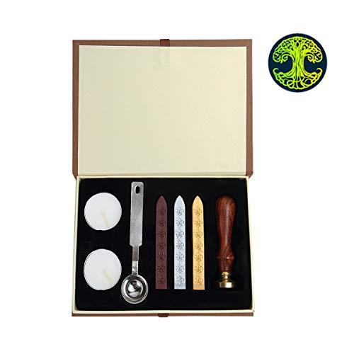 Wachssiegelstempel, PUQU Vintage Initiale Buchstaben Alphabet Wachs Badge Siegelstempel Kit Wachs Set Geschenkbox 3#