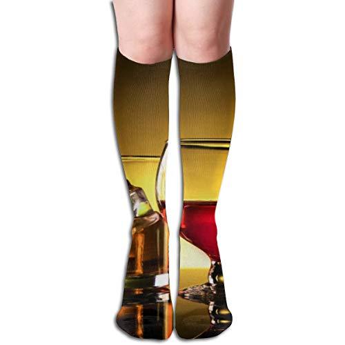 jeroty Wine Whiskey Shot Glasses Socks For Women Men Polyester Novelty Crew Tube Stockings Long Hose For Running Yoga Training -