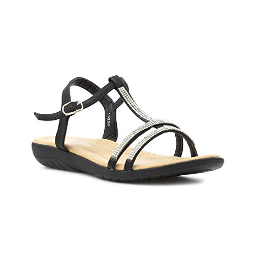 Lilley Womens Black Wide Fit Diamante Sandal - Size 4 UK -...