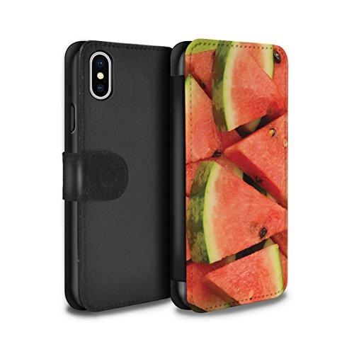 Stuff4 Coque/Etui/Housse Cuir PU Case/Cover pour Apple iPhone X/10 / Pack 18pcs Design / Fruits Juteux Collection Pastèque/Tranche