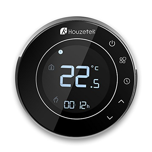 Wifi Thermostat Houzetek Digital Electronic Thermostat Touchscreen Central Heating Thermostat Programmable App Control with LCD screen and free app! Remote control online via smartphone - Underfloor Teamperature Controller 95 - 240 VAC / 50 - 60Hz / Power consumption: less than 1.5W