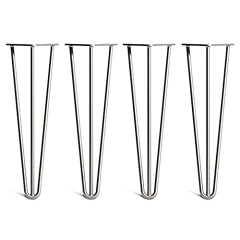 4 x Hairpin Table Legs – Superior Double Weld Steel Construction With Free Screws, Build Guide & Protector Feet, Worth £8! – Mid-Century Modern Style – Available In 10cm To 86cm Heights And A Complete Range Of