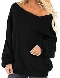 Auxo Sudaderas Mujer Invierno Elegante Camisetas Suéter Fuera del Hombro Manga Larga Jerséis Tops