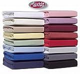Double Jersey - Spannbettlaken 100% Baumwolle Jersey-Stretch, Ultra Weich und Bügelfrei mit bis zu 30cm Stehghöhe, 120 x 200/220 cm, Rosa