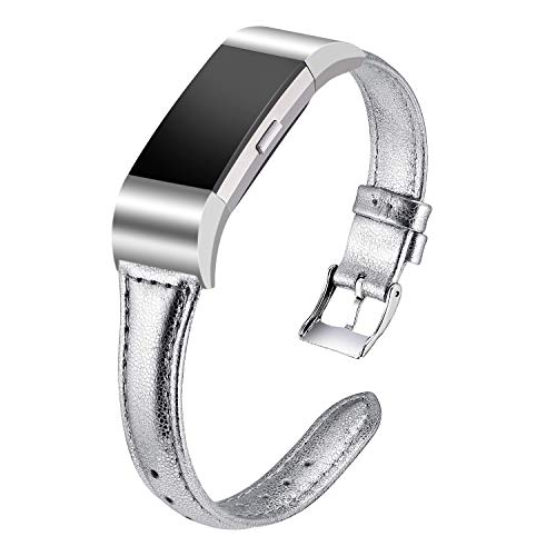 Dolank kompatibel mit Fitbit Charge 2 Armband, Schlank Retro echtes Leder Armbänder Ersatz Zubehör Sport Bands Klein Groß Damen Herren für Fitbit Charge 2 Unisex Armband (Silber, S) -
