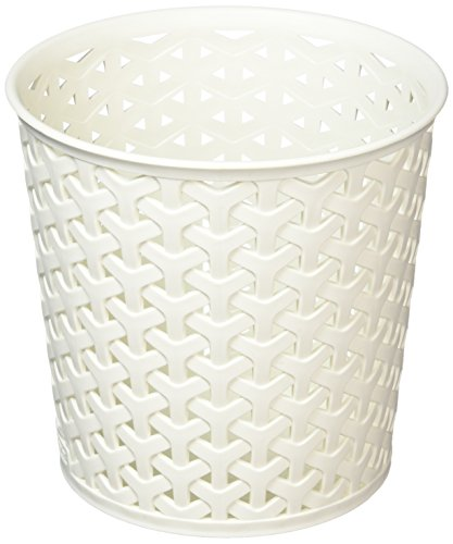 CURVER Aufbewahrungsbehälter, Kunst-Rattan, für die Kommode, ideal für Haarbürsten, weiß Surrey Form