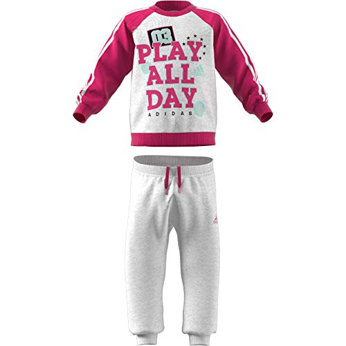 adidas Baby Graphic Jogger French Terry Trainingsanzug, Light Grey Heather/Real Magenta/White/Clear Mint, 86