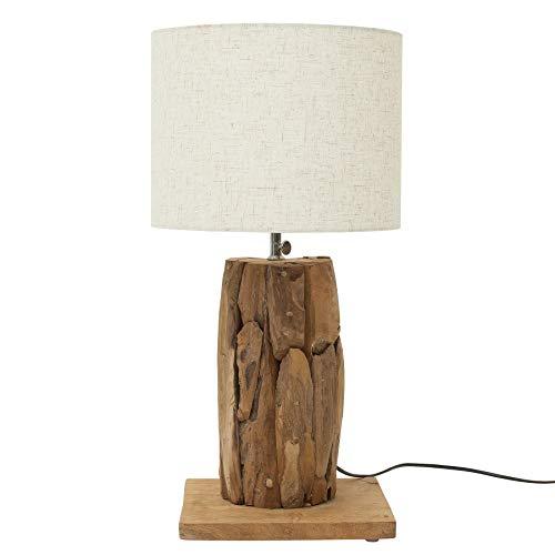 Höhenverstellbare Teakholz Tischlampe ROOTS 70cm beige Treibholz Lampe Tischleuchte Treibholzleuchte Nachttischlampe