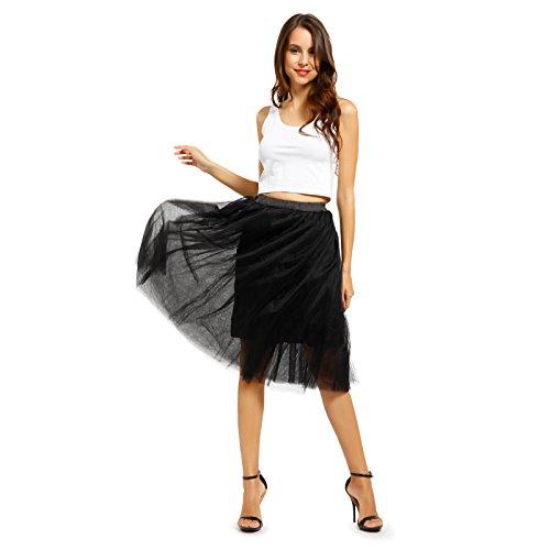 Damen Petticoat 5 Lagen 5 lagig Tuellrock Prinzessin kleid Tanzrock Party Hochzeit kleider Farbeahl Schwarz