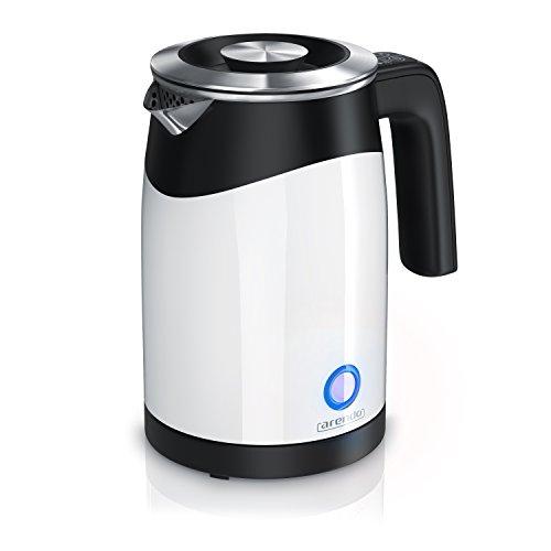 Arendo - Bollitore elettrico da mezzo litro modello Single NEW 2019 | Mini bollitore | Capacità 0,5l | 5 livelli di temperatura regolabili | Doppia parete | Maneggevole e compatto | Bianco nero