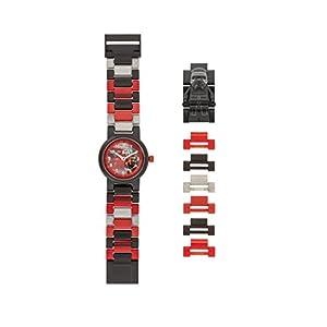 Armbanduhr Lego Star Wars – Kylo Ren, inklusive 12 zusätzlichen Armbandgliedern, Lego Minifigur im Armband integriert, analoges Ziffernblatt, kratzfestes Acrylglas