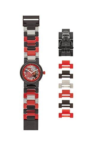 Armbanduhr Lego Star Wars - Kylo Ren, inklusive 12 zusätzlichen Armbandgliedern, Lego Minifigur im Armband integriert, analoges Ziffernblatt, kratzfestes Acrylglas -