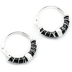 Pendientes de aro Windalf CR66 ~ Skina ~ de plata de ley de 925, 1,3cmde diámetro, con elementos en negro