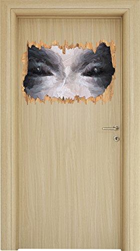 Böse Dämonenaugen Kunst Pinsel Effekt Holzdurchbruch im 3D-Look , Wand- oder Türaufkleber Format: 62x42cm, Wandsticker, Wandtattoo, - Halloween-gemälde Vampir-gesicht