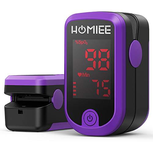 HOMIEE Finger Pulsoximeter,Pulsoximeter zur Messung der Sauerstoffsättigung im Blut, Fingerpulsoximeter zur Pulsmessung, Oximeter mit LED-Anzeige und einfacher Ein Berühren Bedienung. (Purple)