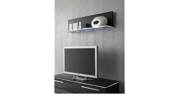 Glasbodenpaneel 100cm Wandboard Glasablageboden schwarz optional LED-Beleuchtung