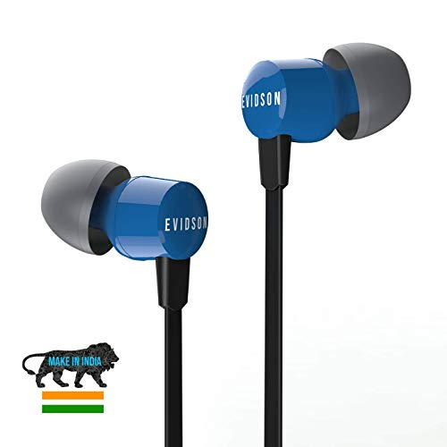Evidson Vibe Blue in-Ear Wired Earphones with Mic, 2X Bass, Off-Axis Ergonomic fit, HD Sound Mobile Headset with Noise Cancellation, Made in India (Blue)