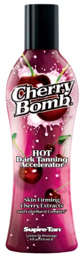 Supre Tan Cherry Bomb Hot Dark Tanning Maximiser with Skin Firming Cherry Extracts 235ml (Cherry Red Hot)