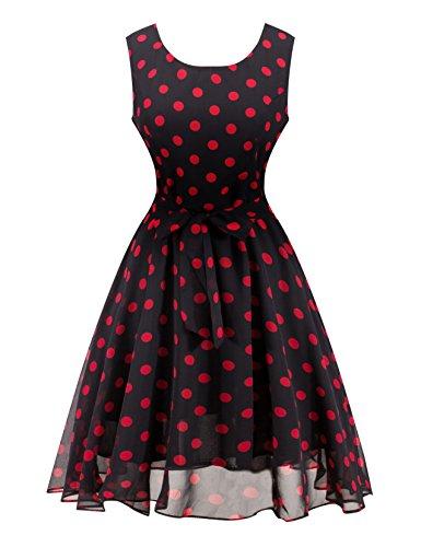 Angerella Rot Polka Dot Kleid Chiffon Damen Elegant Beil?ufige Partei-nette Kleider (Chiffon-kleid Dot Polka)
