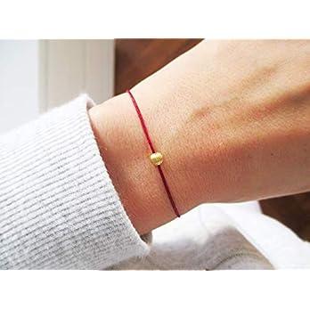 Armband mit Perle 585 Gold Weißgold Personalisiert | Goldarmband Minimalistisch Dezent Bordeaux Dunkelrot Geschenk…
