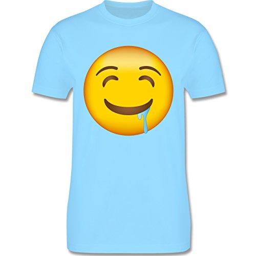 Shirtracer Comic Shirts - Emoji Wasser IM Mund - Herren T-Shirt Rundhals Hellblau