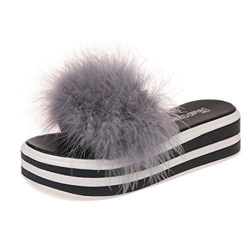 Pantofole flip flops donna, feixiang ciabatte da donna, scarpe casual con tacco piatto, antiscivolo, pantofola in pelliccia sintetica sandali scarpe da spiaggia scarpe basse