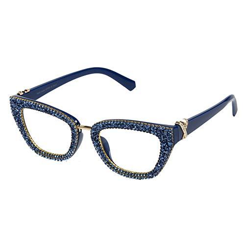 Taiyangcheng Polarisierte Sonnenbrille Vintage Frauen Cat Eye Brillen Designer Mode Kies Strass Mädchen Brillenfassungen Feminino Oculos Optische Gläser,Blau