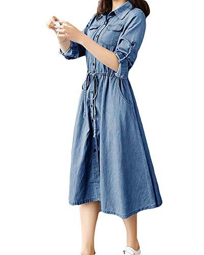 Mujer Playa Vestidos de Fiesta para Bodas Faldas de Vaqueros, Manga Larga Jeans Camisa Azul Claro XL