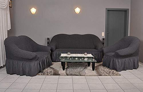 Stretch 2 Sitzer Bezug, 2 Sitzer Husse aus Baumwolle & Polyester. Sehr elastische Sofaueberwurf in anthrazit / dunkelgrau. Sofabezug Hussen Sofahusse Stretch Husse - 3