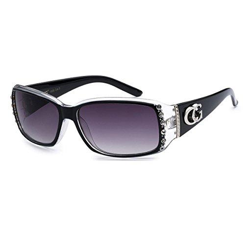 CG Sunglasses Cg Brillen Strass Nieten schmale rechteckige Mode Sonnenbrillen UV-Schutz 1 Einheitsgröße 2 Tone - Schwarz & Clear