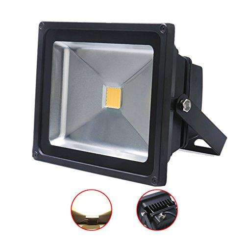 Auralum® 1x 50W LED Flutlicht Fluter Lampe strahler Außen Strahler Scheinwerfer Super hell Leuchte warmweiß Wasserdicht schwarz