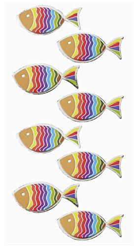 8 St. farbenfrohe Aufkleber bzw. Sticker FISCH Regenbogenfisch regenbogenfarben zum Basteln Dekorieren Schmücken zur Taufe Kommunion Firmung Geburtstag bunt blau orange 3,5 cm