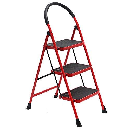 Klappstufen Tritthocker Trittleiter Klapptritt StufenHocker Tragbare Kletterleiter Für Den Haushalt ZHANGQIANG (Farbe : Red, größe : Five Steps)